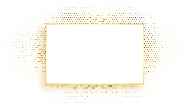 Golden rectangle frame with glitter background