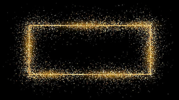 Golden rectangle frame with glitter, sparkles and flares on dark background. empty luxury backdrop. vector illustration.