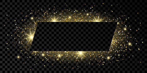 Golden rectangle frame with glitter, sparkles and flares on dark transparent  background. empty luxury backdrop. vector illustration.