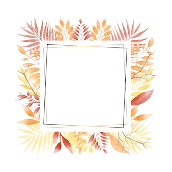 水彩の秋のセールバナーと黄金長方形フレーム