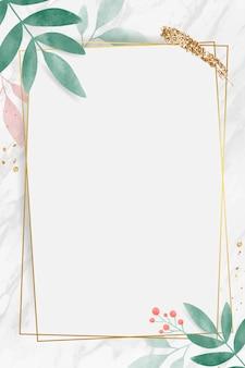 金色长方形水彩叶形边框