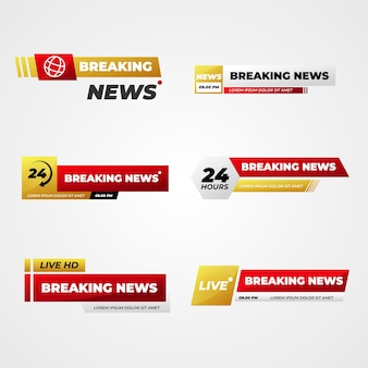 Golden and red breaking news banners