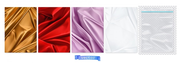 Golden and red fabric, violet curtain, white paper, transparent plastic package. 3d realistic backgrounds