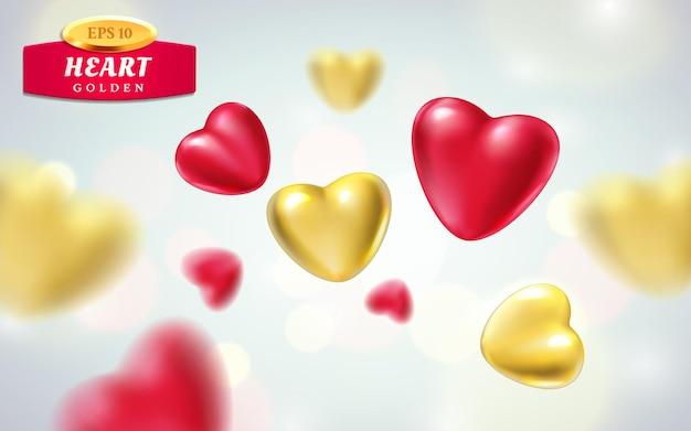 明るい背景に分離された金色、赤のリアルな心。さまざまなビューで豪華なハートの形の3dベクトルイラスト。幸せなバレンタインデーのグリーティングカードまたは結婚式のサイン。