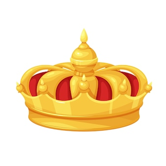 Golden red velvet crown. first place winner, royal golden jewelry, wealth. isolated vector icon of golden triumph first place cartoon style.