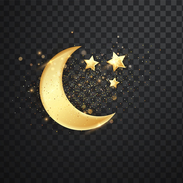 Golden reflective crescent moons with stars.