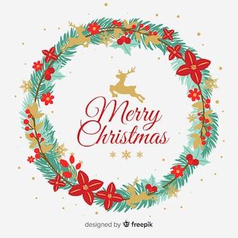 Golden reindeers christmas wreath