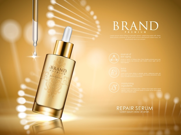 Golden repair serum with helical structure,  illustration