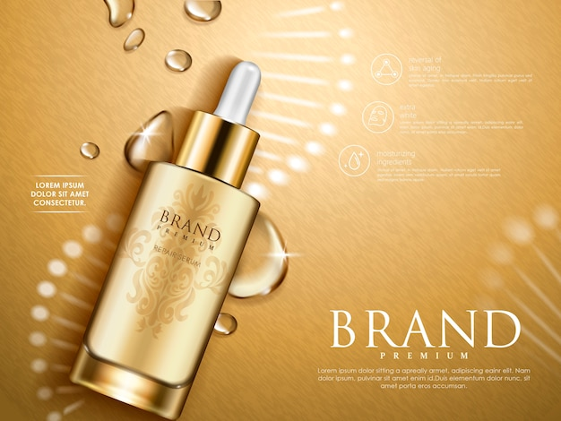Golden repair serum with helical structure and water drops,  illustration