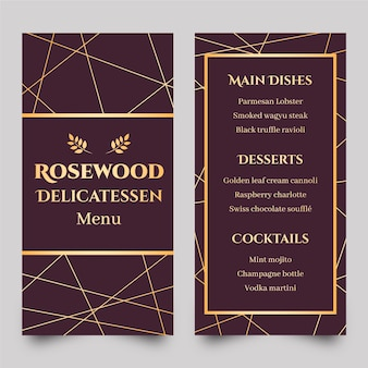 Золотой шаблон меню ресторана