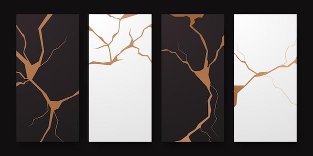 Золотая реставрация дизайна обложки кинцуги. роскошная элегантная мраморная керамическая текстура. шаблон трещин и сломанной земли для стены, плаката, баннера, социальных сетей,