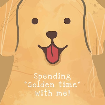 골든 리트리버 강아지 템플릿 벡터 소셜 미디어 게시물, 나와 함께 황금 시간 보내기