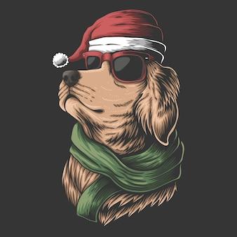 Golden retriever dog wearing a santa hat for christmas