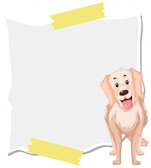 Golden retriever on note template