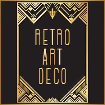 Golden retro art deco frame background