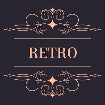 Golden retro logotype with swirly wavy lines and flower ornaments
