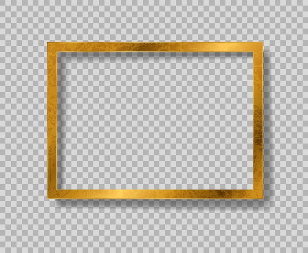 Golden of retro paper photo frame