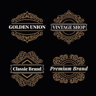 Golden retro restaurant logo collection template
