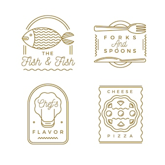 Golden retro restaurant logo collection