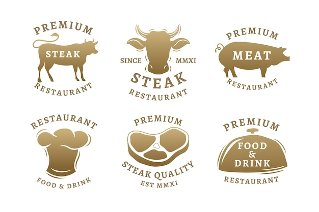 Golden retro restaurant logo pack