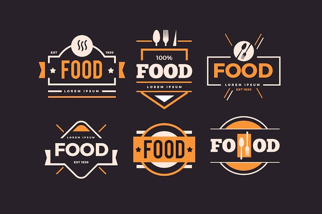 Golden retro restaurant logo set