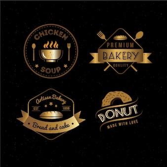 Golden retro restaurant logo set