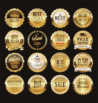 黄金のレトロな販売バッジとラベルコレクション