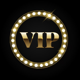Golden retro vip insignia or emblem with lights