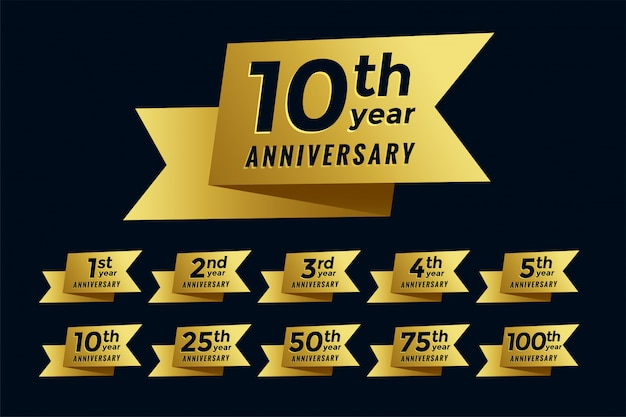 Golden ribbon anniversary emblem set