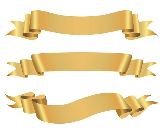 Баннеры с золотой лентой