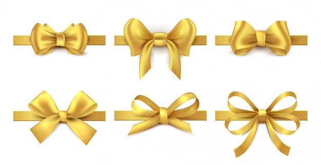 Golden ribbon bow. holiday gift decoration, valentine present tape knot, shiny sale ribbons collection.