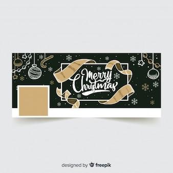 Golden ribbon christmas facebook cover