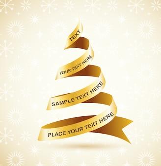 ゴールデンリボンのクリスマスツリー。グリーティングカード、バナーまたはポスターの背景