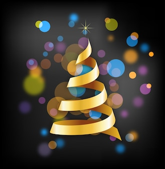 Golden ribbon christmas tree on a disco background.  background for greeting card, banner or poster