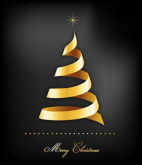 검은 backround에 황금 리본 크리스마스 트리