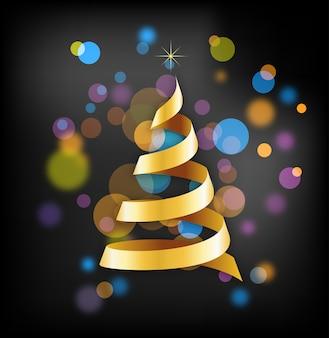 디스코 배경에 황금 리본 크리스마스 트리입니다. 인사말 카드, 배너 또는 포스터 배경