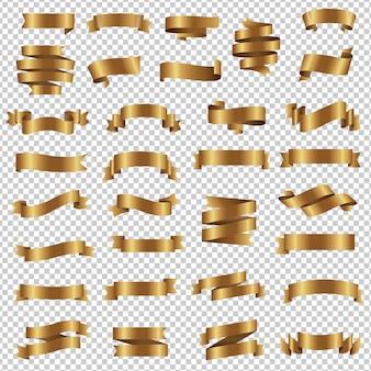 Golden ribbon set isolated transparent background