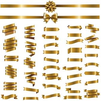Golden ribbon set on white