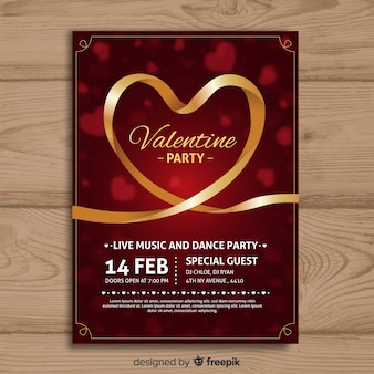 Golden ribbon valentine party poster