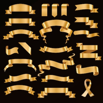 Golden ribbon vector illustration.