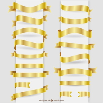 Golden ribbons graphic elements set