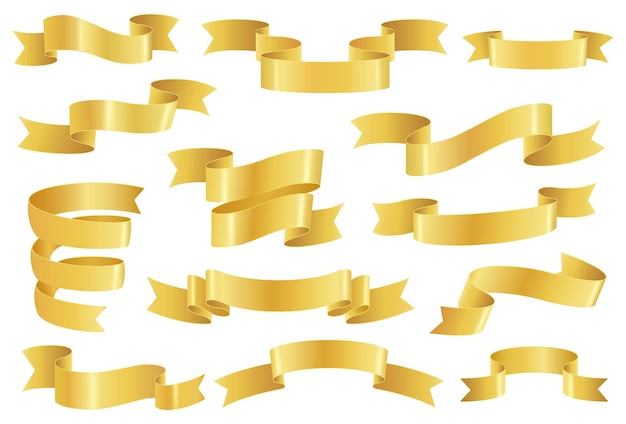 Golden ribbons, realistic glossy gold tape banner elements. empty premium promo ribbon or scroll, elegant vintage decoration vector set. festive promotional blank elements isolated on white