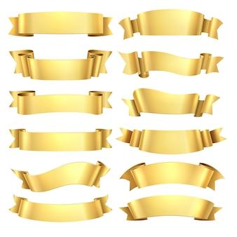 Golden ribbons set. congratulations banner element, yellow gift decorative shape, gold advertising scroll.