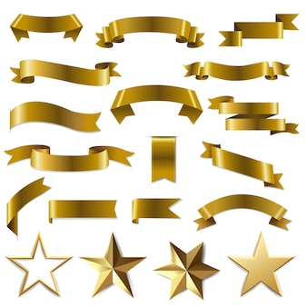 Golden ribbons and stars set white background with gradient mesh