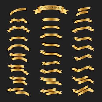 Golden ribbons vector set on black background. Premium ribbons set.