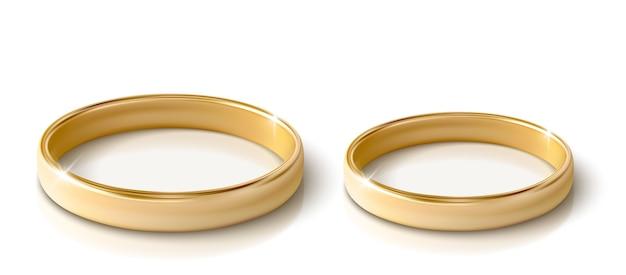 Золотое кольцо на белом фоне. реалистичный