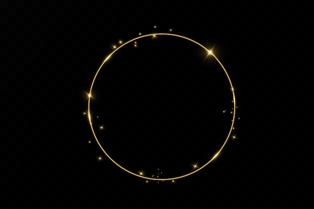 Золотое кольцо. роскошная сверкающая рамка.