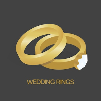 Golden ring and ring with big, shiny diamond vector illustration.