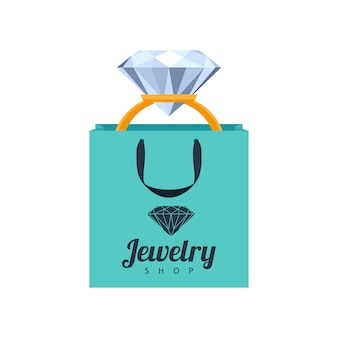 Golden ring with diamond in turquoise gift bag illustration. jewelry shop icon template.