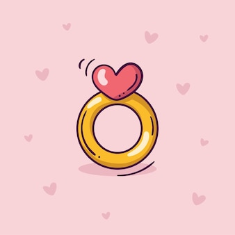 Golden ring with pink heart in doodle style on pink background with hearts